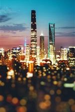 China, city, Shanghai, night, lights, blurry
