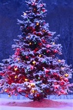 Preview iPhone wallpaper Christmas tree, snow, lights, dusk