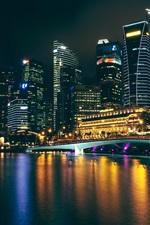 Preview iPhone wallpaper City night, skyscrapers, lights, bridge, bay