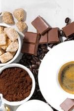 Coffee beans, chocolate, sugar, cup