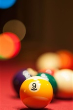 Preview iPhone wallpaper Colorful billiards, blurry background