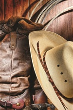 Preview iPhone wallpaper Cowboy shoes and hat