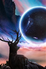 Desktopography creative design, deer, planet, universe