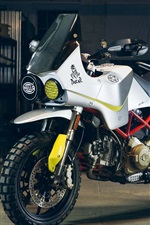 Preview iPhone wallpaper Ducati Hypermotard white motorcycle 2017