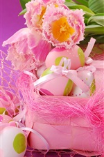 Preview iPhone wallpaper Easter eggs, pink tulips, spring, ribbon