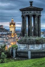 iPhone壁紙のプレビュー エジンバラ、スコットランド、夕方、木々、展望台、街、ライト、雲