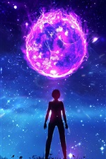 Preview iPhone wallpaper Fantasy art, planet, boy, night, magic