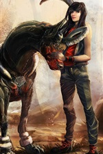 Preview iPhone wallpaper Fantasy girl and horse, art picture