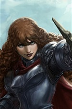 Preview iPhone wallpaper Fantasy girl, warrior, weapons, sword, armor