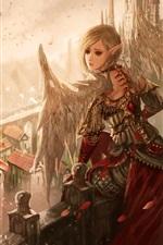 Fantasy girl, wings, ears, elf, birds, castle, art picture