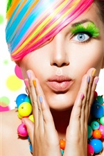 Preview iPhone wallpaper Fashion girl, colorful hair, makeup