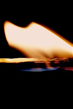 Preview iPhone wallpaper Fire, flame, match, black background