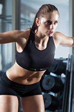 Preview iPhone wallpaper Fitness girl, sportswear, dumbbells, gym