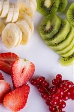 Preview iPhone wallpaper Fruit salad, kiwi, berries, banana, strawberry