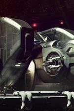 Futuro fantasia imagem, nave espacial, hangar