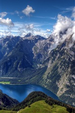 Preview iPhone wallpaper Germany, Bavarian, Bayern, Alps, clouds, river, forest