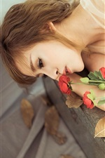 Preview iPhone wallpaper Girl have a rest, love rose