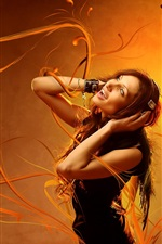 Preview iPhone wallpaper Girl listen music, orange background