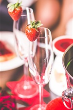 Preview iPhone wallpaper Glass cups, strawberry, champagne, rose, cakes