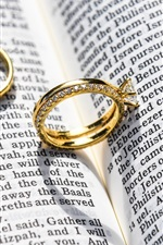 Preview iPhone wallpaper Gold rings, jewelry, book