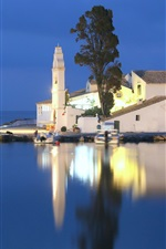 Greece, Ionian sea, church, small island, night, water reflection