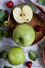 Preview iPhone wallpaper Green apples, cherries, knife, water drops, still life