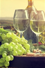 Preview iPhone wallpaper Green grapes, wine, bottle, glass cups