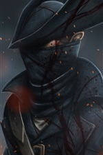 Preview iPhone wallpaper Hunter, hat, blood, art picture