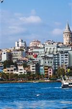 미리보기 iPhone 배경 화면 이스탄불, 터키, 아름다운 도시, 강, 보트, 주택