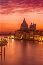 Preview iPhone wallpaper Italy, Venice, beautiful night, clouds, red sky, river, houses, lights