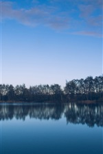 Preview iPhone wallpaper Lake, trees, water reflection, blue sky
