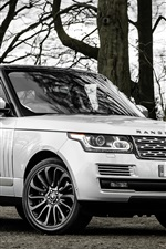 Preview iPhone wallpaper Land Rover Range Rover SUV car, trees