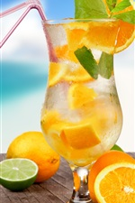 Preview iPhone wallpaper Lemon drinks, cocktail, summer, tropical