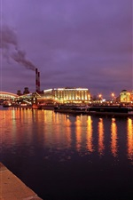 Preview iPhone wallpaper Moscow, city night, lights, river, bridge, boats