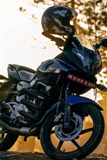 Preview iPhone wallpaper Motorcycle at street, helmet, sunshine