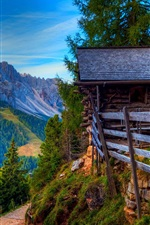 Mountains, road, trees, grass, wood house