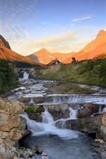 Montanhas, rochas, rio, riacho, floresta, pôr do sol