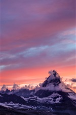Mountains, snow, sunset, fog, clouds, morning