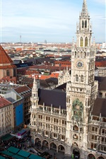 Munich, Germany, New Town Hall, Church, tower, city, buildings