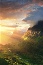 Preview iPhone wallpaper Norway, Alesund, mountains, valley, sunshine, sunrise, morning