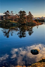 Preview iPhone wallpaper Norway, Haugesund, trees, lake, houses