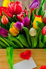 Preview iPhone wallpaper One box of tulip flowers, white red yellow pink, love hearts