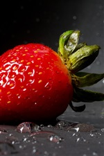 Preview iPhone wallpaper One strawberry close-up, water droplets