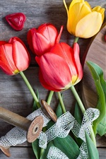 Preview iPhone wallpaper Orange and red tulips