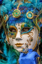 Preview iPhone wallpaper Peacock feathers mask girl, carnival