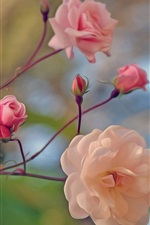 Preview iPhone wallpaper Pink rose, twigs, art style