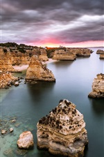 Preview iPhone wallpaper Portugal, Algarve, sea, ocean, rocks, sunrise, clouds, dawn