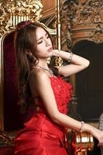 Red dress Asian girl, chair, chess