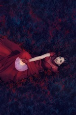 Preview iPhone wallpaper Red dress Asian girl, retro style, fan