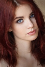 Preview iPhone wallpaper Red hair girl, blue eyes, portrait